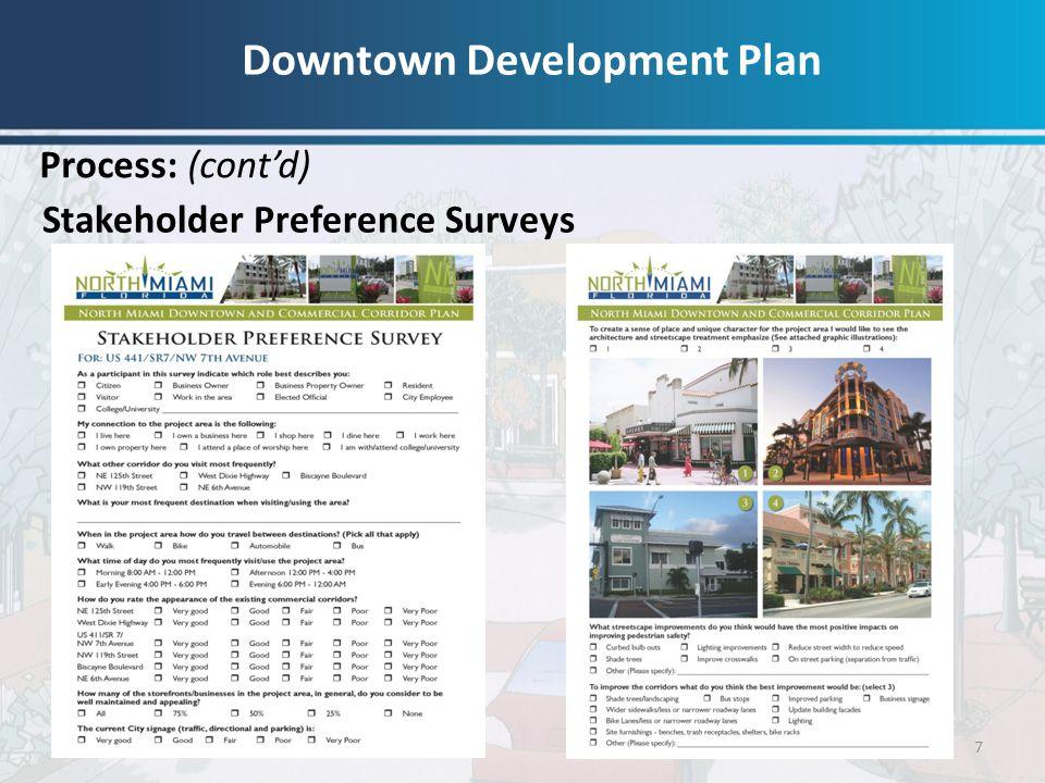 7 Stakeholder Preference Surveys Process: (cont'd) Downtown Development Plan
