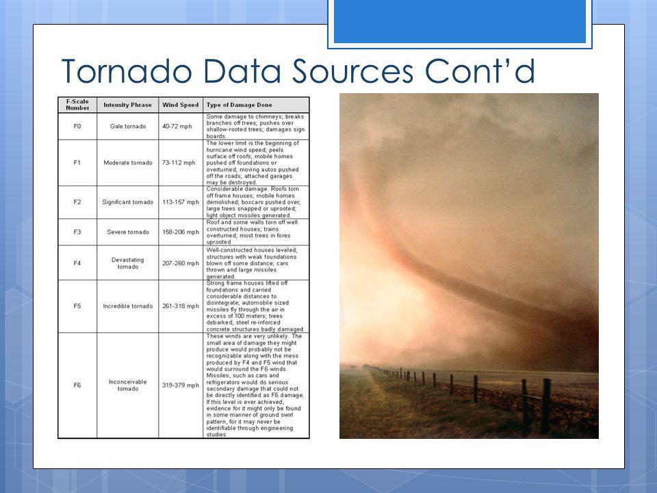 Tornado Data Sources Cont'd