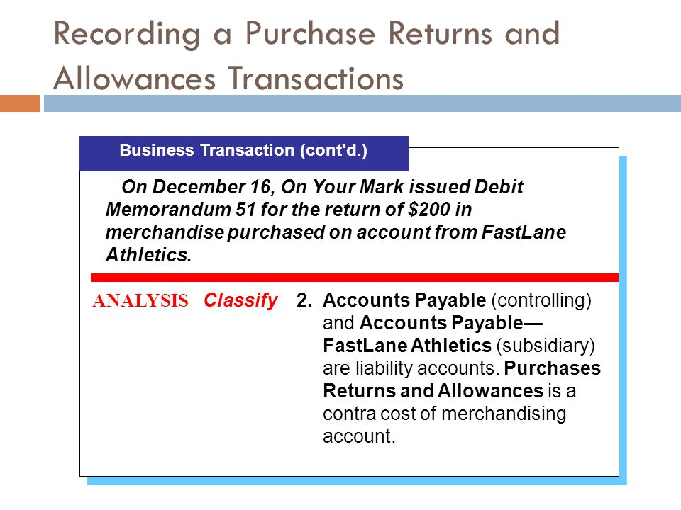 Recording a Purchase Returns and Allowances Transactions Business Transaction (cont'd.) ANALYSIS Classify2.Accounts Payable (controlling) and Accounts