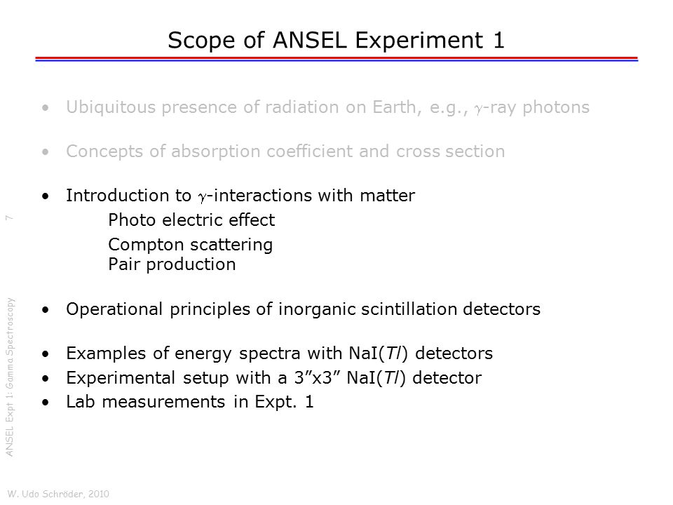 Scope of ANSEL Experiment 1 Ubiquitous presence of radiation on Earth, e.g., -ray photons Concepts of absorption coefficient and cross section Introd