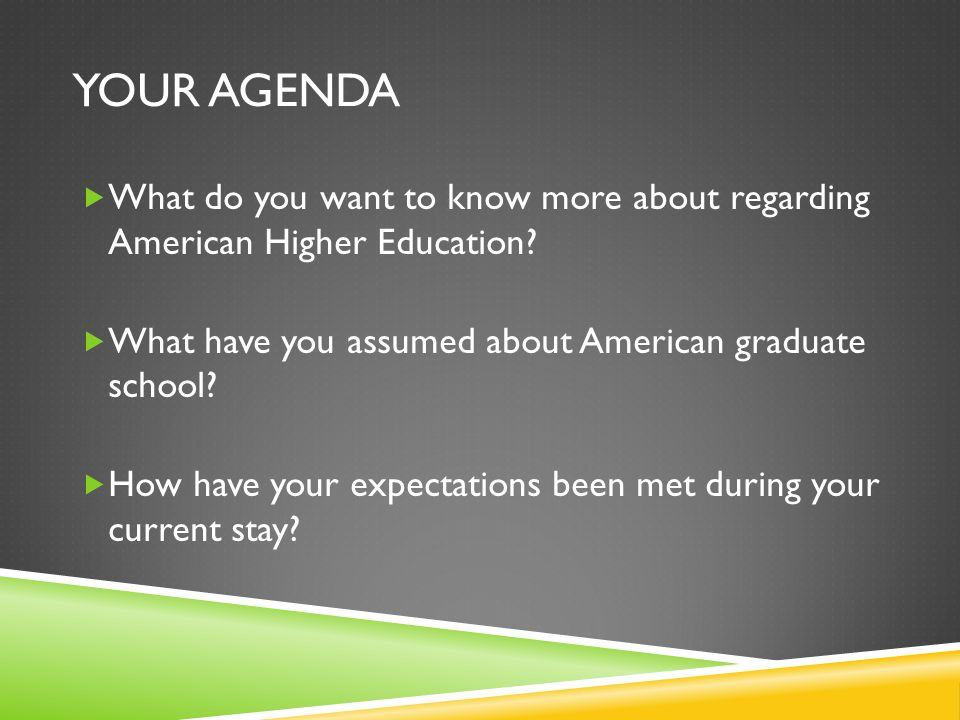 YOUR AGENDA  What do you want to know more about regarding American Higher Education.