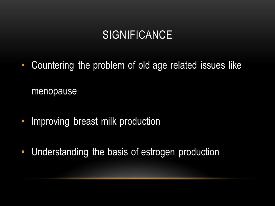 SIGNIFICANCE Countering the problem of old age related issues like menopause Improving breast milk production Understanding the basis of estrogen production