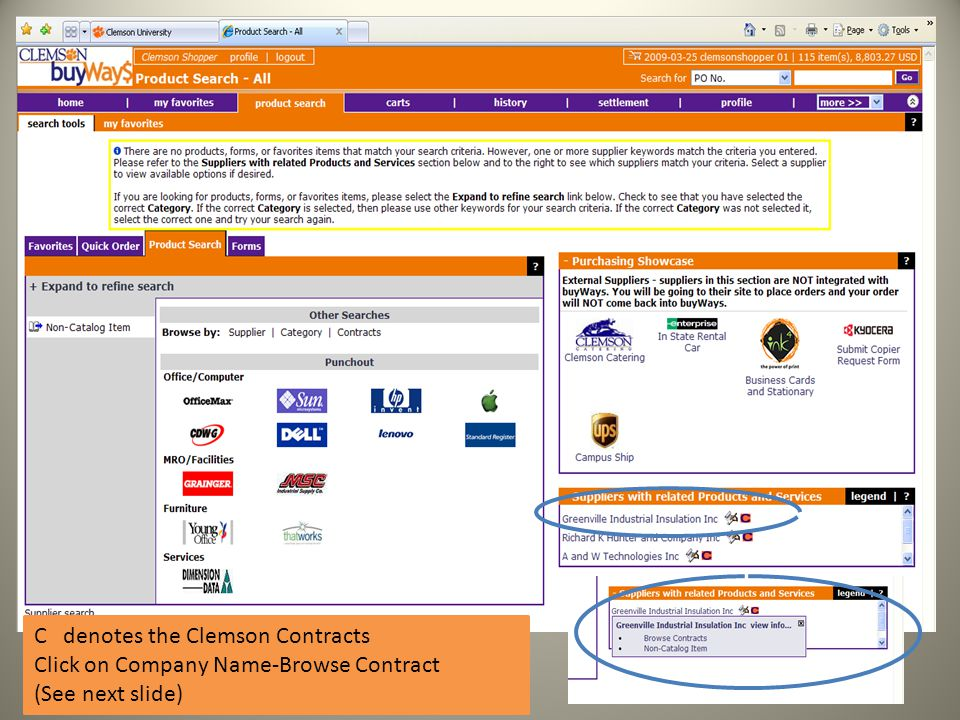 C denotes the Clemson Contracts Click on Company Name-Browse Contract (See next slide)