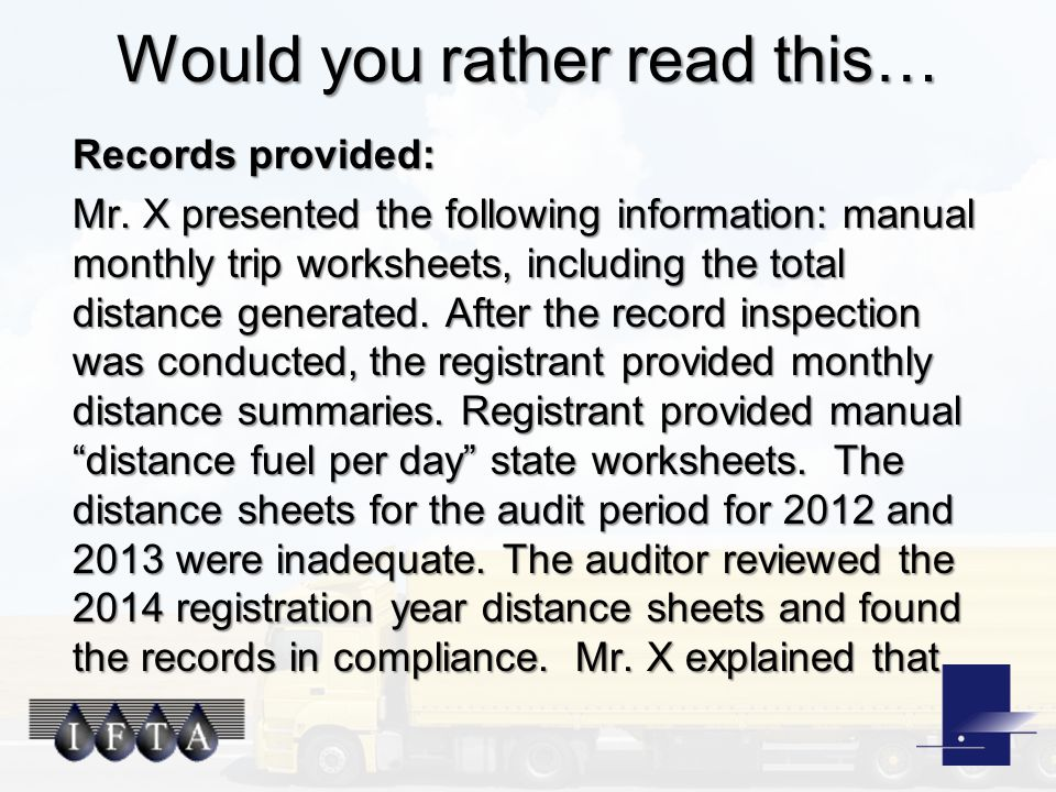Would you rather read this… Records provided: Mr.