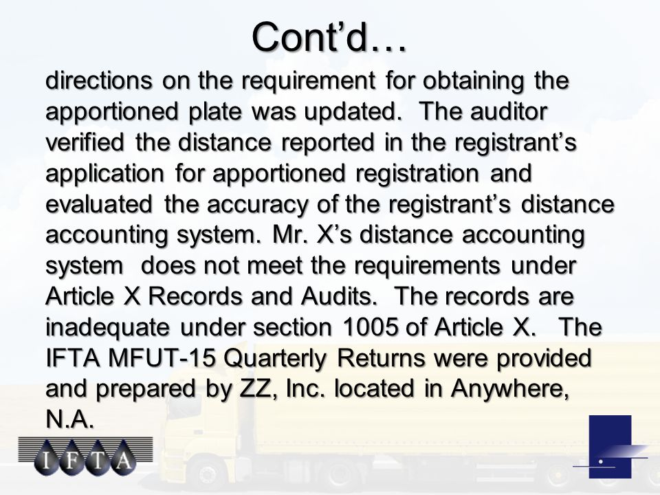 Cont'd… directions on the requirement for obtaining the apportioned plate was updated.