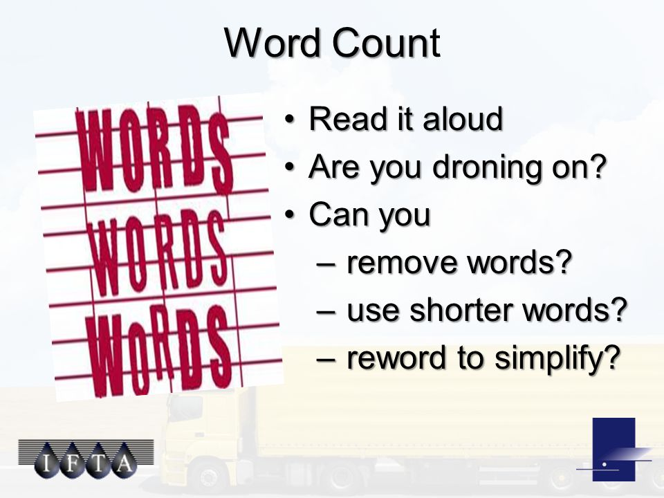 Word Coun Word Count Read it aloudRead it aloud Are you droning on?Are you droning on.