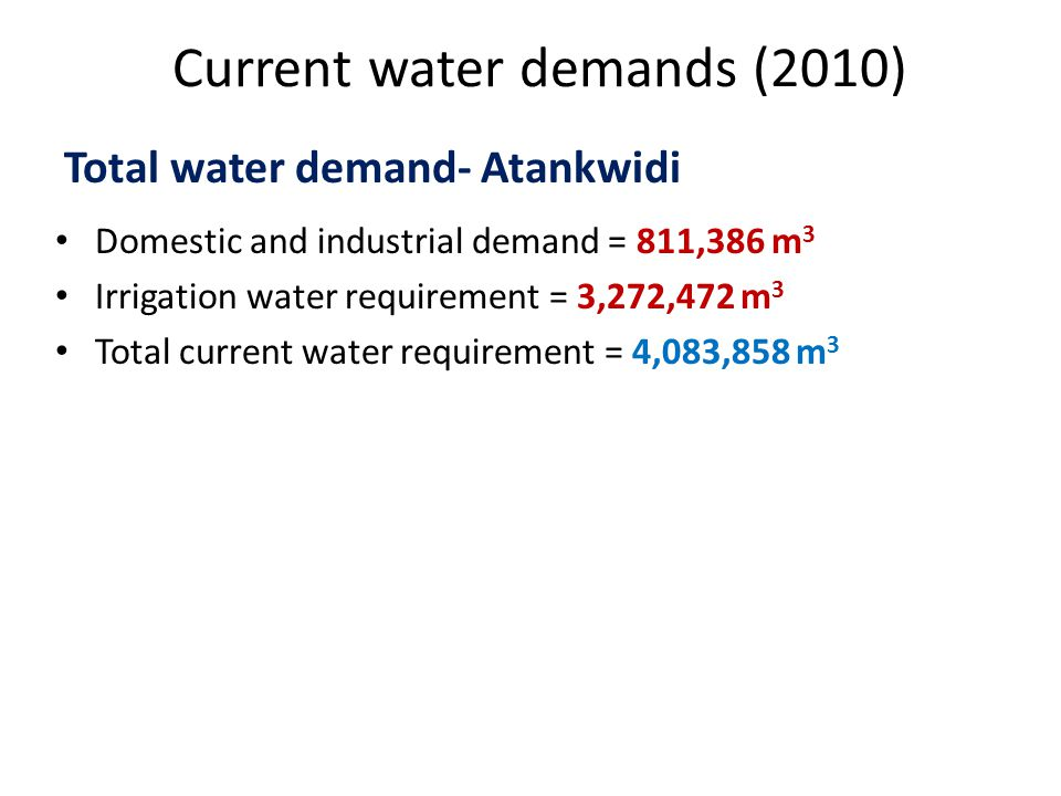 Current water demands (2010) Domestic and industrial demand = 811,386 m 3 Irrigation water requirement = 3,272,472 m 3 Total current water requirement = 4,083,858 m 3 Total water demand- Atankwidi