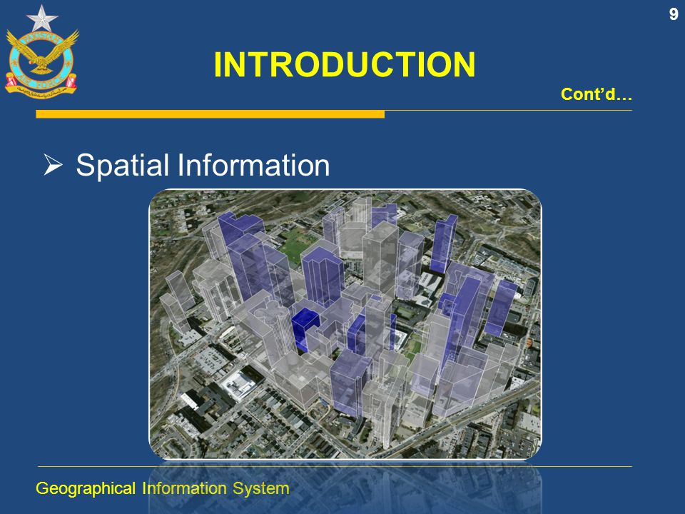 INTRODUCTION  Spatial Information What is Where When! 10 Geographical Information System Cont'd…