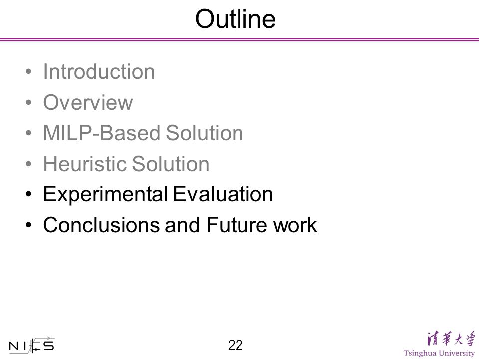 Outline Introduction Overview MILP-Based Solution Heuristic Solution Experimental Evaluation Conclusions and Future work 22