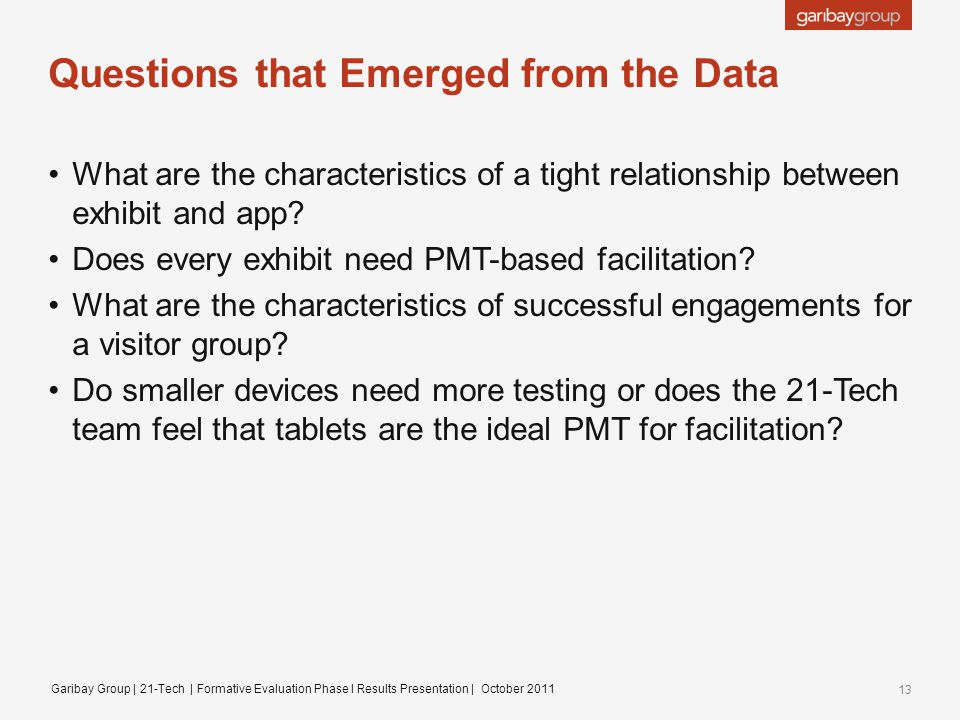 Questions that Emerged from the Data What are the characteristics of a tight relationship between exhibit and app.