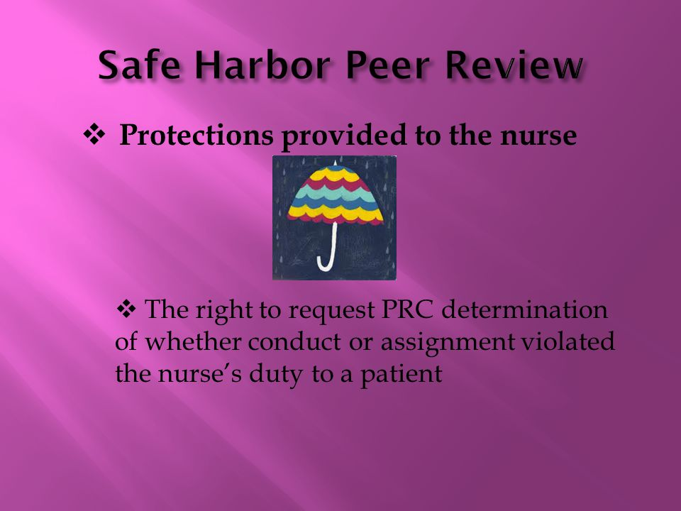  Protections provided to the nurse  The right to request PRC determination of whether conduct or assignment violated the nurse's duty to a patient