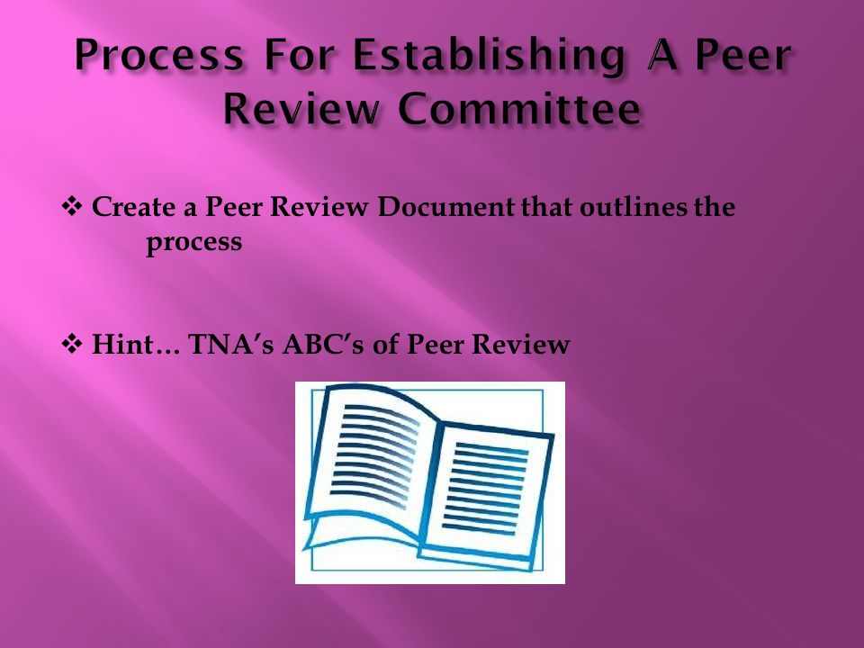  Create a Peer Review Document that outlines the process  Hint… TNA's ABC's of Peer Review