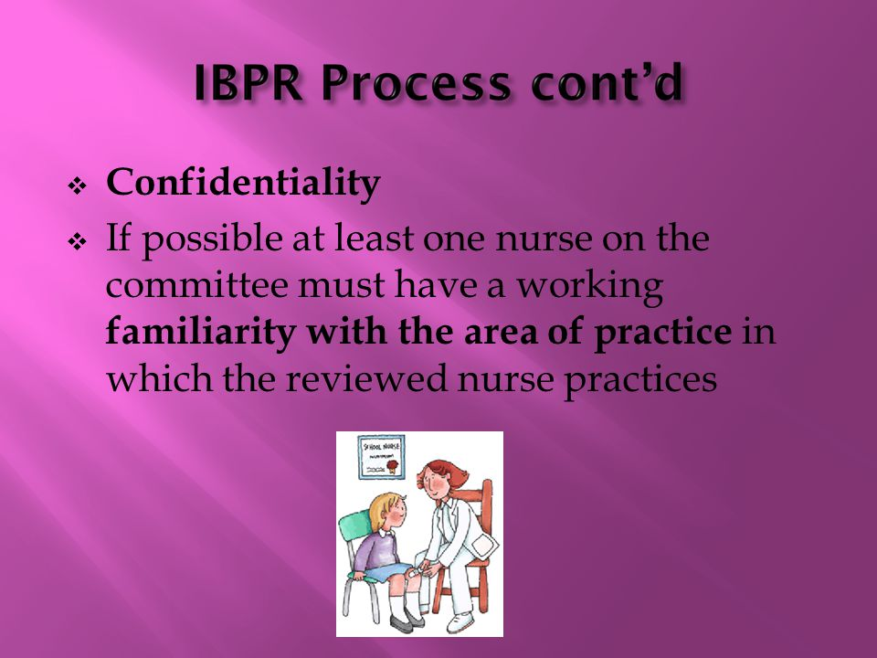  Confidentiality  If possible at least one nurse on the committee must have a working familiarity with the area of practice in which the reviewed nurse practices