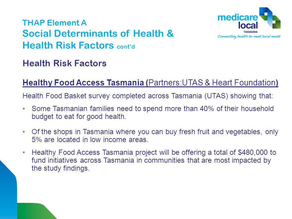 THAP Element A Social Determinants of Health & Health Risk Factors cont'd