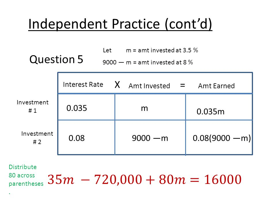 Independent Practice (cont'd) Question 5 Let m = amt invested at 3.5 % 9000 — m = amt invested at 8 % Interest Rate X Amt Earned = Amt Invested Investment # 1 Investment # 2 0.035m 0.035m 0.089000 —m0.08(9000 —m) Distribute 80 across parentheses.