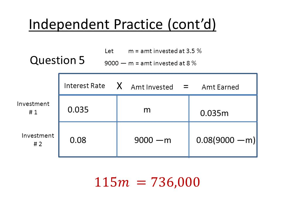 Independent Practice (cont'd) Question 5 Let m = amt invested at 3.5 % 9000 — m = amt invested at 8 % Interest Rate X Amt Earned = Amt Invested Investment # 1 Investment # 2 0.035m 0.035m 0.089000 —m0.08(9000 —m)