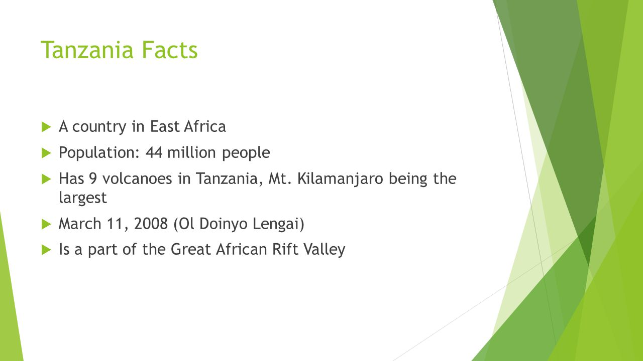 Tanzania Facts  A country in East Africa  Population: 44 million people  Has 9 volcanoes in Tanzania, Mt. Kilamanjaro being the largest  March 11,