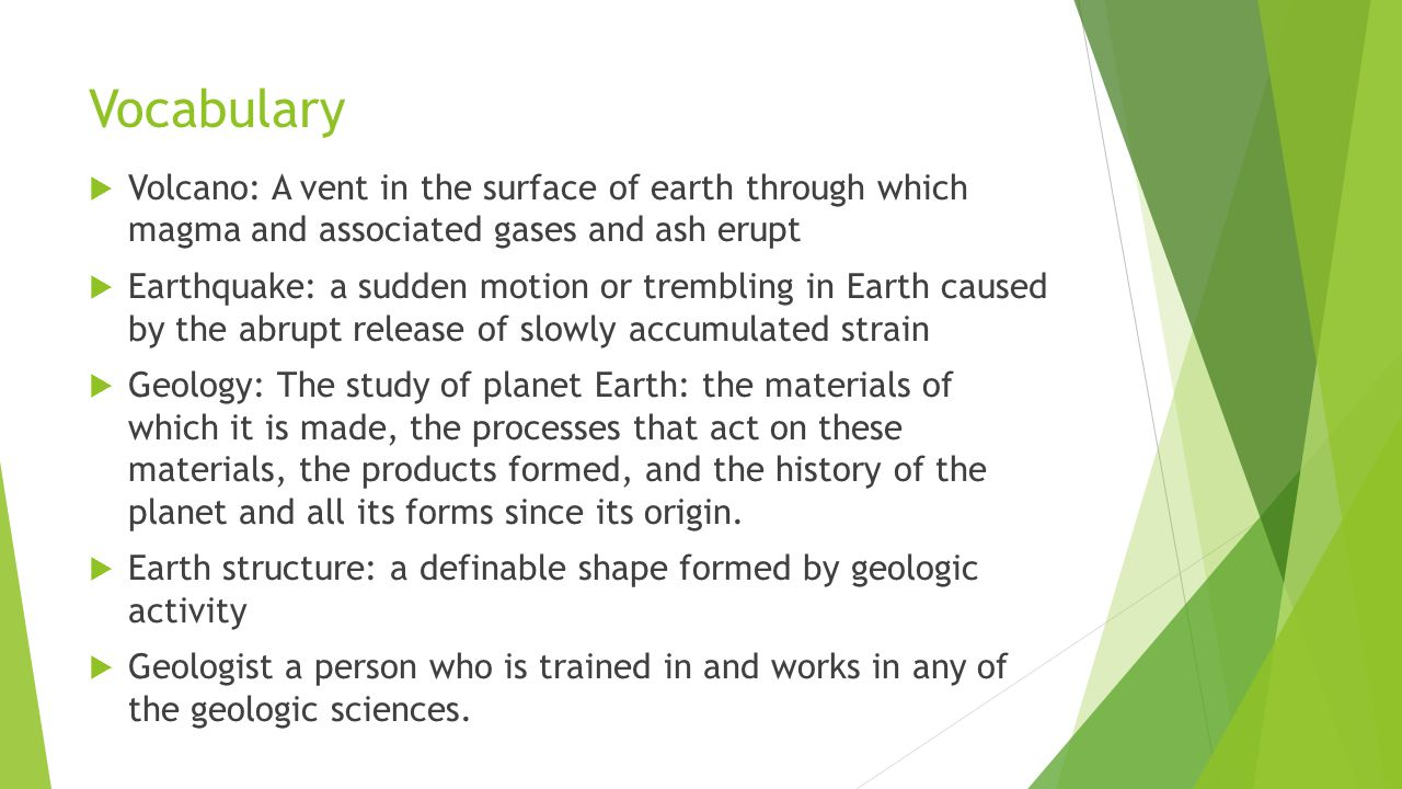 Think about the structure of the Earth  Get started:  With a partner, you will be assigned one of the geologic events pictured on pages 61 & 62 and answer the following questions on a separate sheet of paper to turn in.