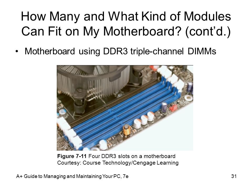 A+ Guide to Managing and Maintaining Your PC, 7e31 How Many and What Kind of Modules Can Fit on My Motherboard? (cont'd.) Motherboard using DDR3 tripl