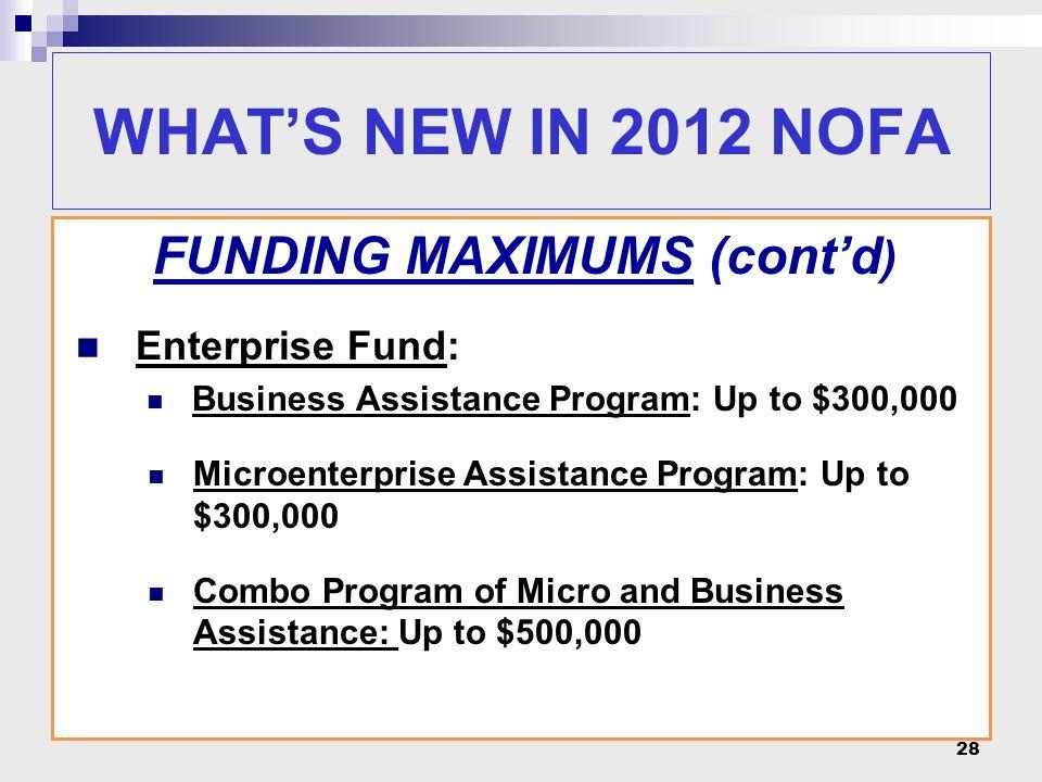 FUNDING MAXIMUMS (cont'd ) Enterprise Fund: Business Assistance Program: Up to $300,000 Microenterprise Assistance Program: Up to $300,000 Combo Progr