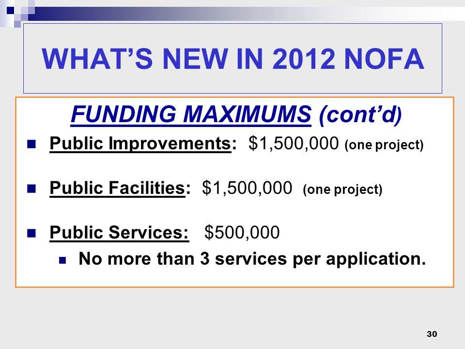 30 FUNDING MAXIMUMS (cont'd ) Public Improvements: $1,500,000 (one project) Public Facilities: $1,500,000 (one project) Public Services: $500,000 No more than 3 services per application.
