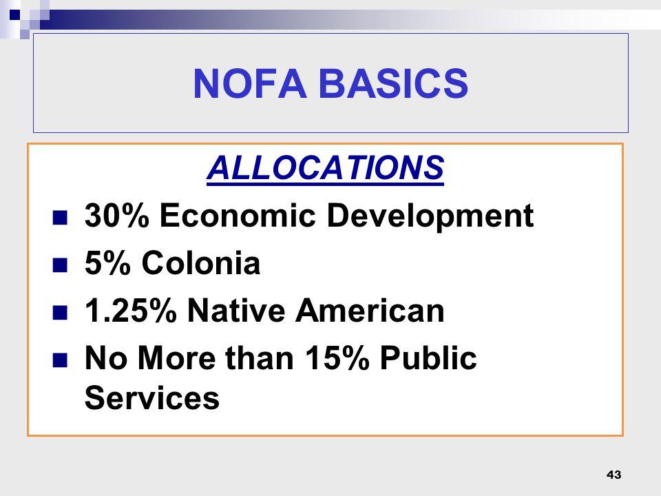 NOFA BASICS ALLOCATIONS 30% Economic Development 5% Colonia 1.25% Native American No More than 15% Public Services 43