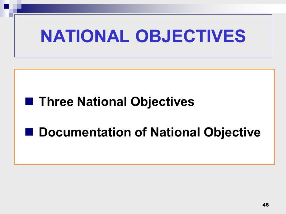 45 Three National Objectives Documentation of National Objective NATIONAL OBJECTIVES