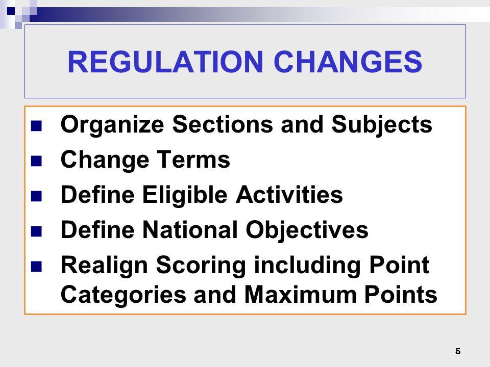 REGULATION CHANGES ELIGIBILITY 50% Rule.