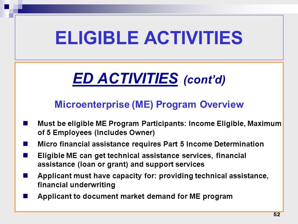 52 ELIGIBLE ACTIVITIES ED ACTIVITIES (cont'd) Microenterprise (ME) Program Overview Must be eligible ME Program Participants: Income Eligible, Maximum