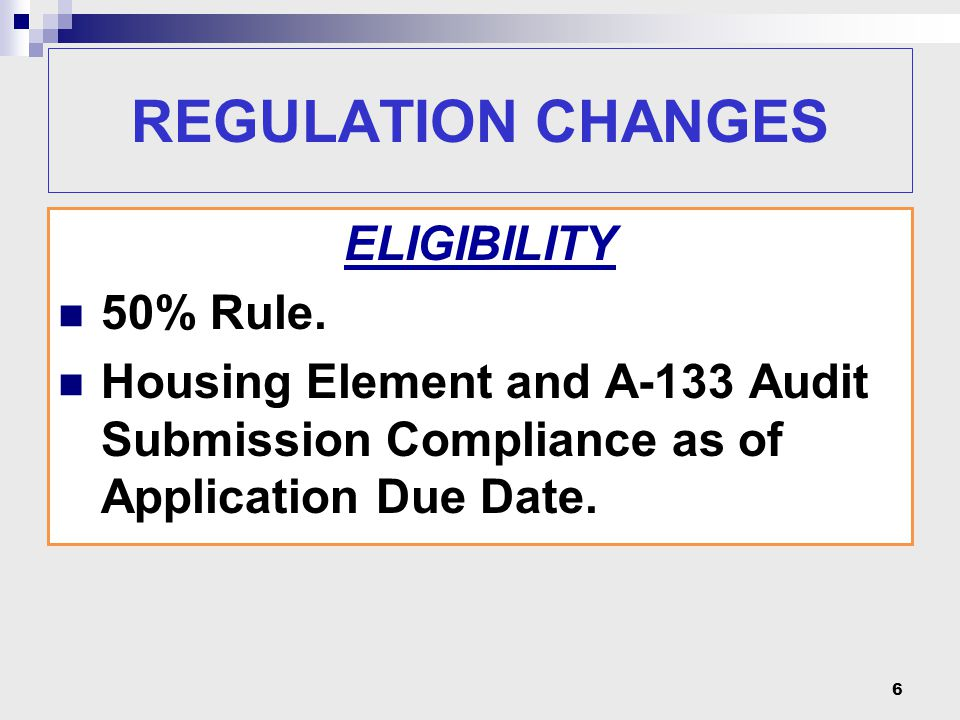 REGULATION CHANGES ECONOMIC DEVELOPMENT Micro-Enterprise Removed from Job Creation Requirement.