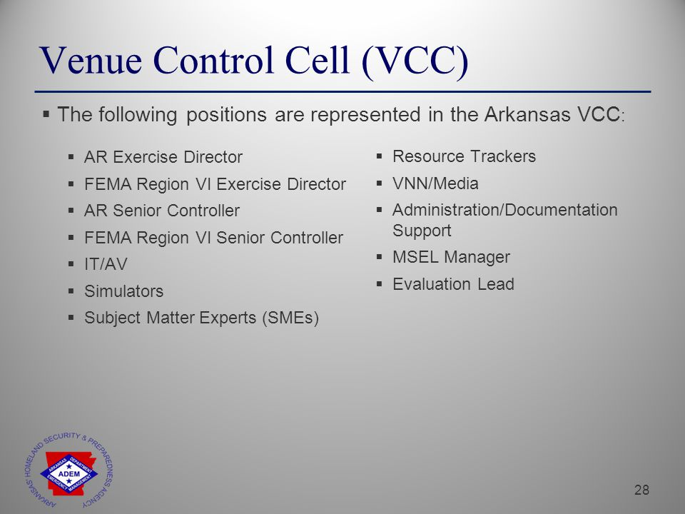28 Venue Control Cell (VCC)  AR Exercise Director  FEMA Region VI Exercise Director  AR Senior Controller  FEMA Region VI Senior Controller  IT/AV  Simulators  Subject Matter Experts (SMEs)  The following positions are represented in the Arkansas VCC :  Resource Trackers  VNN/Media  Administration/Documentation Support  MSEL Manager  Evaluation Lead