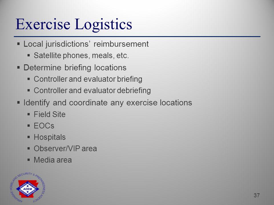 37 Exercise Logistics  Local jurisdictions' reimbursement  Satellite phones, meals, etc.