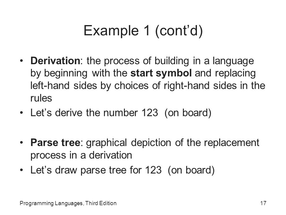 Example 1 (cont'd) Derivation: the process of building in a language by beginning with the start symbol and replacing left-hand sides by choices of ri