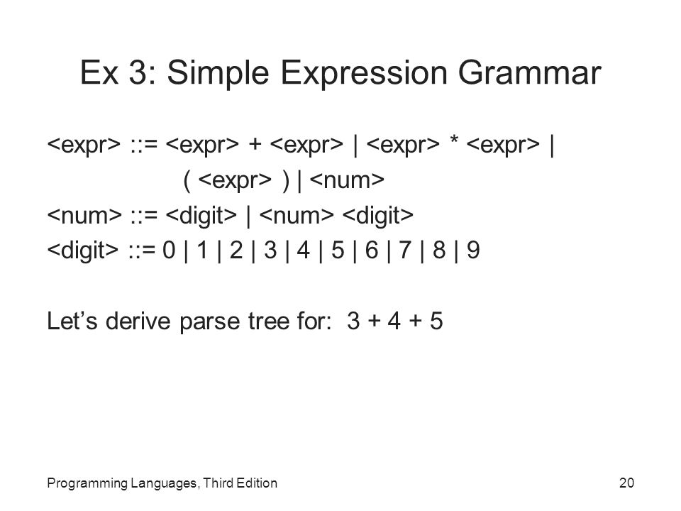 Ex 3: Simple Expression Grammar ::= + | * | ( ) | ::= | ::= 0 | 1 | 2 | 3 | 4 | 5 | 6 | 7 | 8 | 9 Let's derive parse tree for: 3 + 4 + 5 Programming Languages, Third Edition20