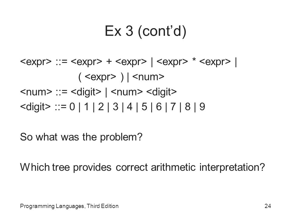 Ex 3 (cont'd) ::= + | * | ( ) | ::= | ::= 0 | 1 | 2 | 3 | 4 | 5 | 6 | 7 | 8 | 9 So what was the problem.