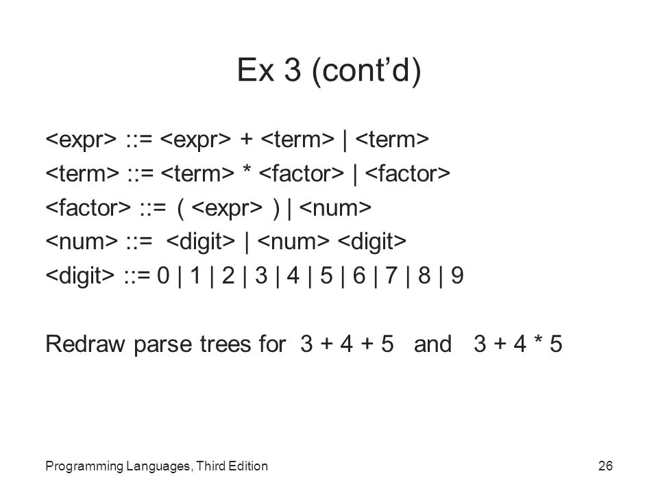 Ex 3 (cont'd) ::= + | ::= * | ::= ( ) | ::= | ::= 0 | 1 | 2 | 3 | 4 | 5 | 6 | 7 | 8 | 9 Redraw parse trees for and * 5 Programming Languages, Third Edition26