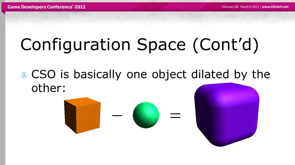 Configuration Space (Cont'd)  CSO is basically one object dilated by the other: