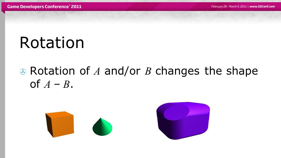 Rotation  Rotation of A and/or B changes the shape of A – B.
