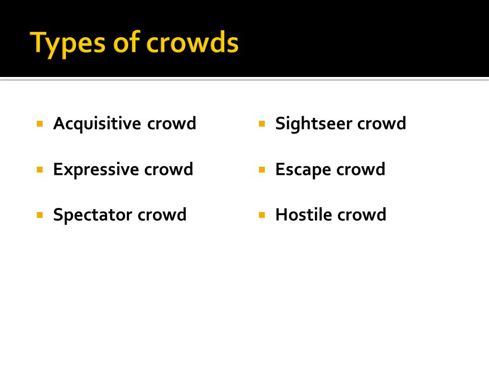  Acquisitive crowd  Expressive crowd  Spectator crowd  Sightseer crowd  Escape crowd  Hostile crowd