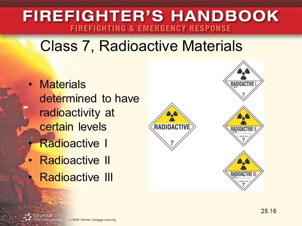 25.16 Class 7, Radioactive Materials Materials determined to have radioactivity at certain levels Radioactive I Radioactive II Radioactive III