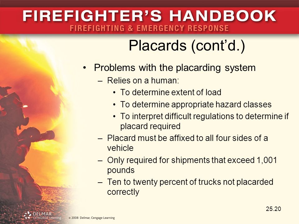 Placards (cont'd.) Problems with the placarding system –Relies on a human: To determine extent of load To determine appropriate hazard classes To inte