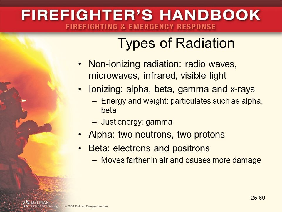 Types of Radiation Non-ionizing radiation: radio waves, microwaves, infrared, visible light Ionizing: alpha, beta, gamma and x-rays –Energy and weight
