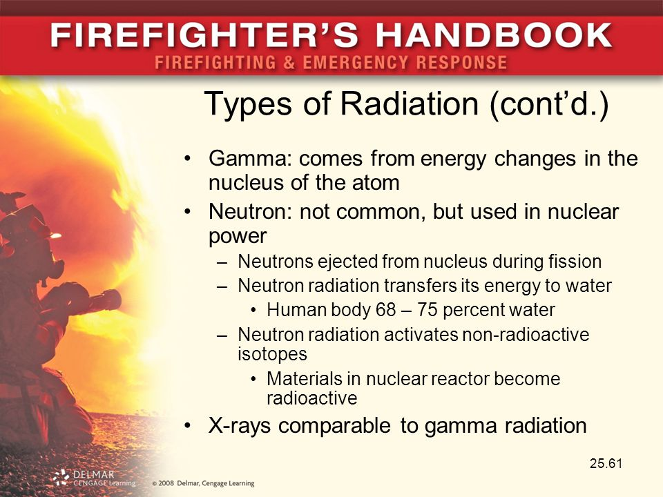 Types of Radiation (cont'd.) Gamma: comes from energy changes in the nucleus of the atom Neutron: not common, but used in nuclear power –Neutrons ejec