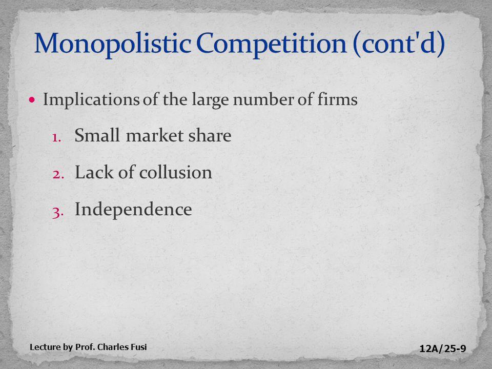 12A/25-20 Price (P 1 ) > ATC Economic profit Lecture by Prof. Charles Fusi