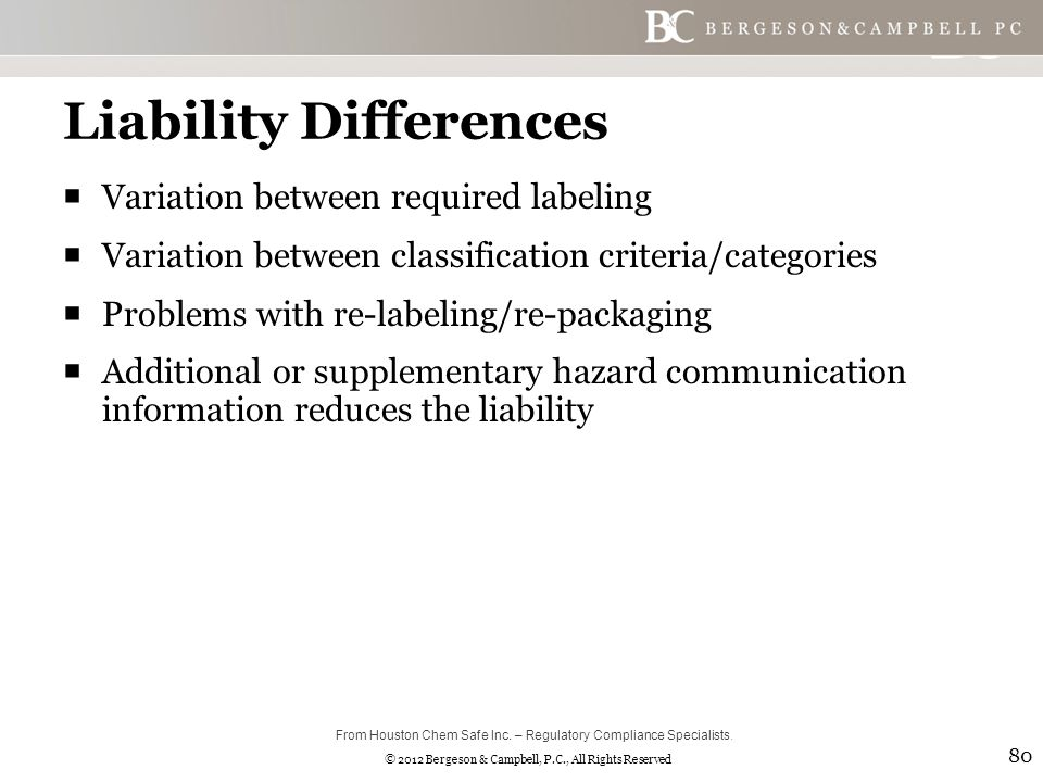 © 2012 Bergeson & Campbell, P.C., All Rights Reserved Liability Differences  Variation between required labeling  Variation between classification criteria/categories  Problems with re-labeling/re-packaging  Additional or supplementary hazard communication information reduces the liability 80 From Houston Chem Safe Inc.