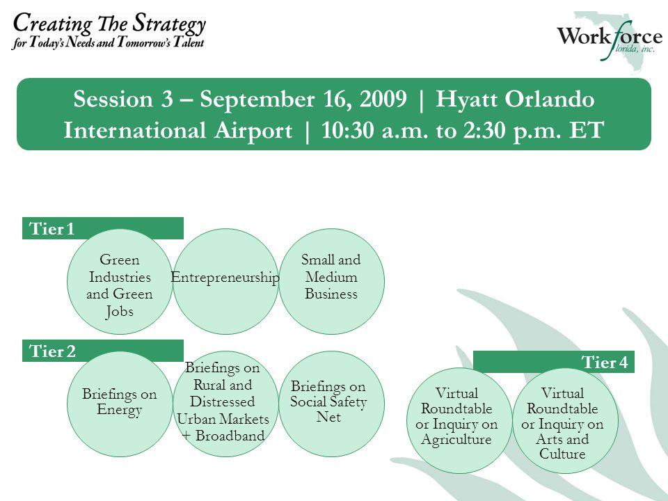 Session 3 – September 16, 2009 | Hyatt Orlando International Airport | 10:30 a.m.