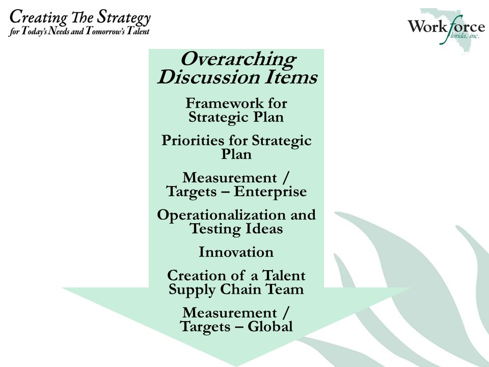 Overarching Discussion Items Framework for Strategic Plan Priorities for Strategic Plan Measurement / Targets – Enterprise Operationalization and Testing Ideas Innovation Creation of a Talent Supply Chain Team Measurement / Targets – Global