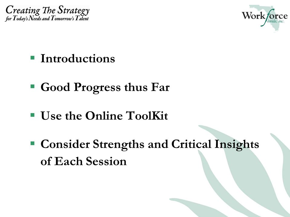  Introductions  Good Progress thus Far  Use the Online ToolKit  Consider Strengths and Critical Insights of Each Session