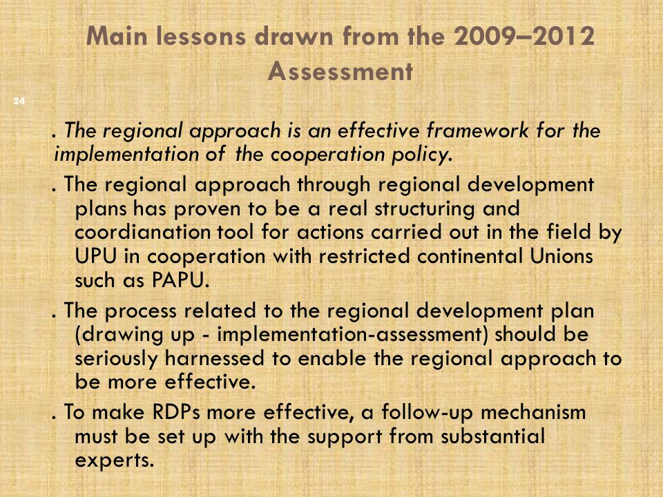 Main lessons drawn from the 2009–2012 Assessment.
