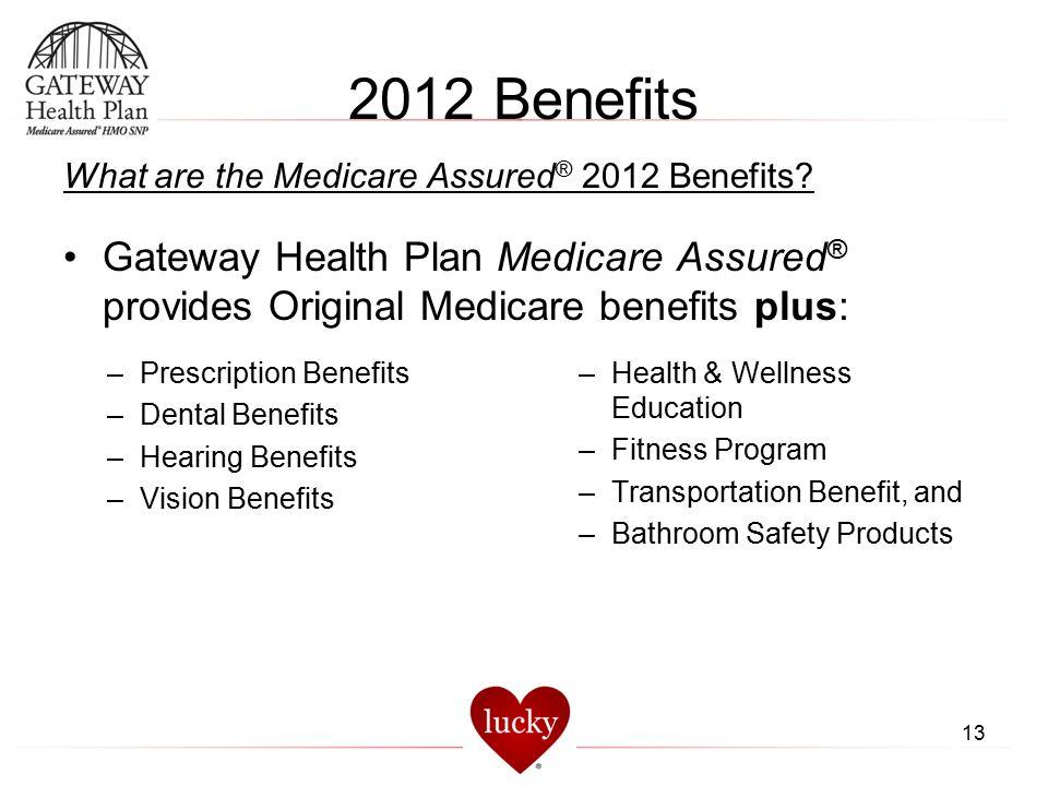 13 2012 Benefits What are the Medicare Assured ® 2012 Benefits? Gateway Health Plan Medicare Assured ® provides Original Medicare benefits plus: –Heal